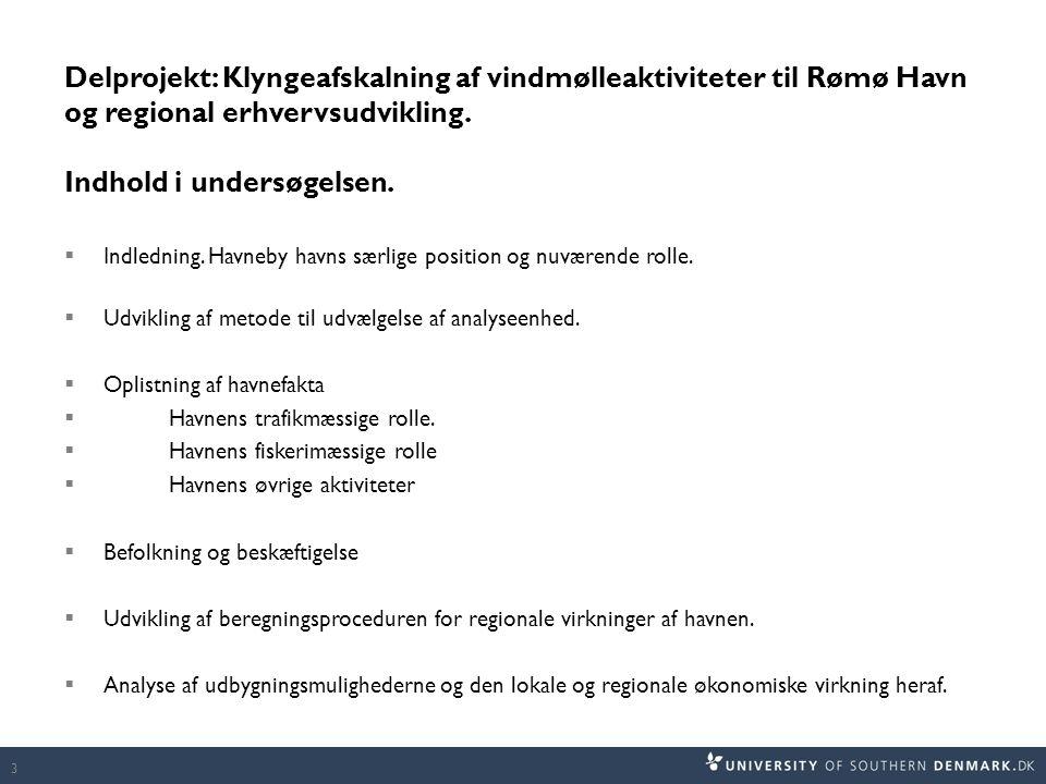 Delprojekt: Klyngeafskalning af vindmølleaktiviteter til Rømø Havn og regional erhvervsudvikling. Indhold i undersøgelsen.