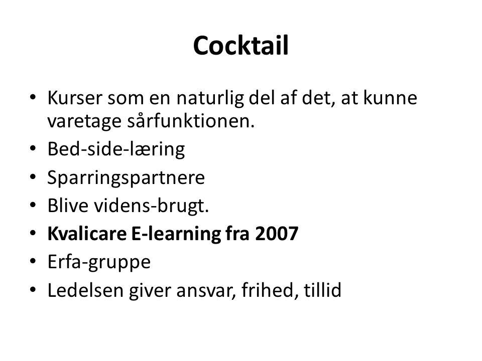 Cocktail Kurser som en naturlig del af det, at kunne varetage sårfunktionen. Bed-side-læring. Sparringspartnere.