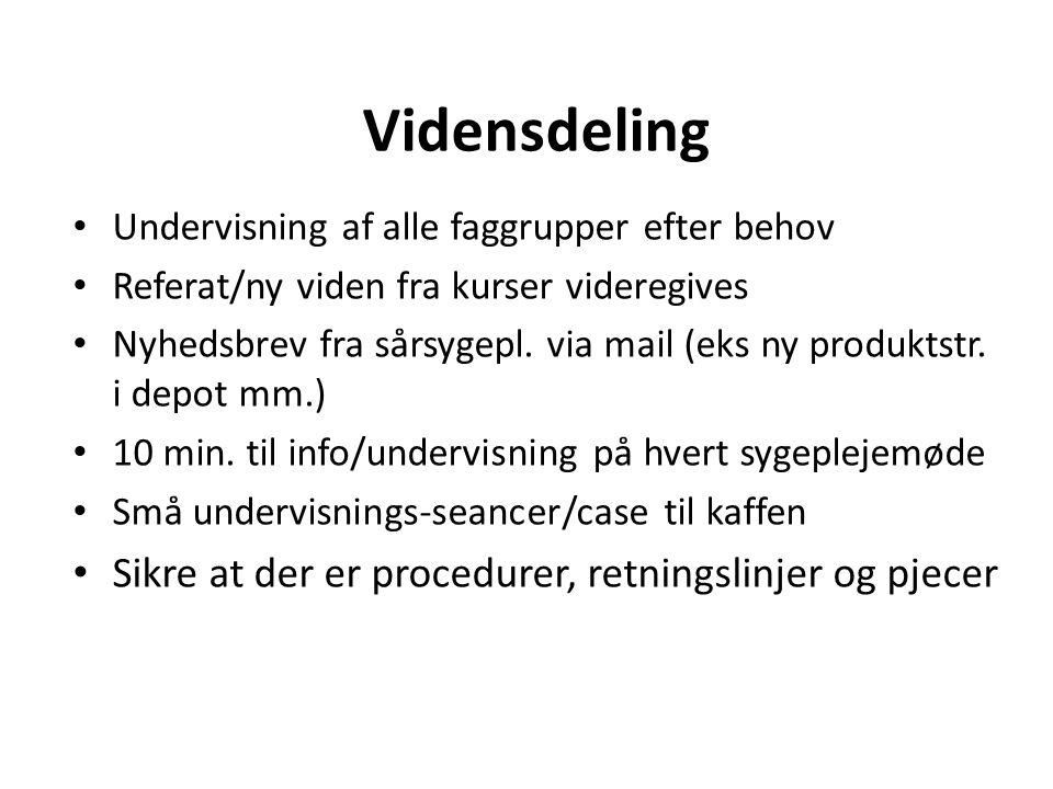 Vidensdeling Sikre at der er procedurer, retningslinjer og pjecer