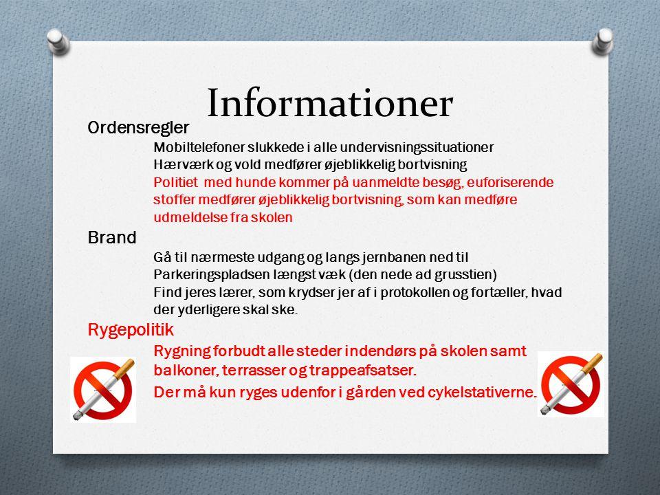 Informationer Ordensregler Brand Rygepolitik