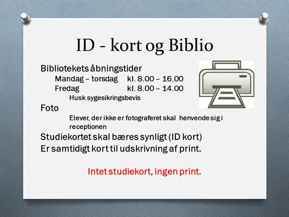 Intet studiekort, ingen print.