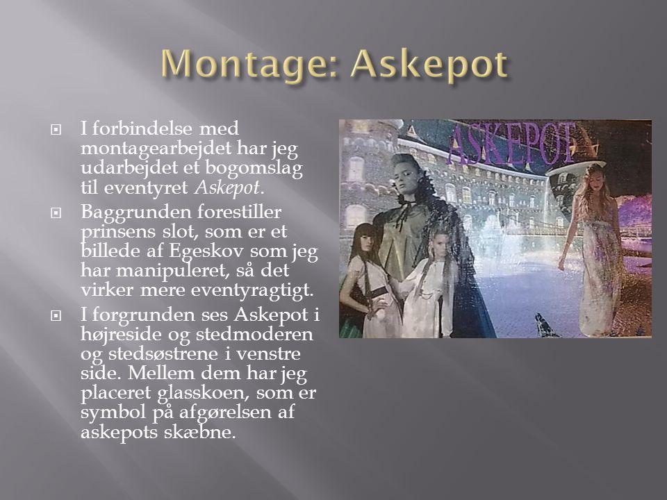 Montage: Askepot I forbindelse med montagearbejdet har jeg udarbejdet et bogomslag til eventyret Askepot.