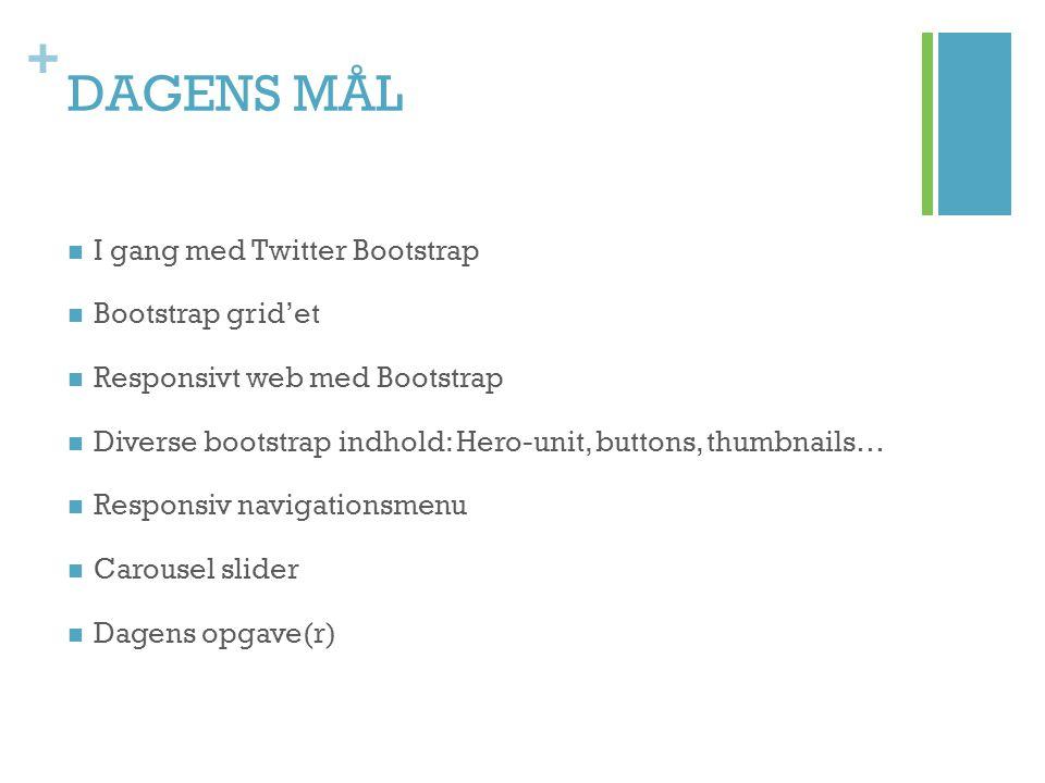 DAGENS MÅL I gang med Twitter Bootstrap Bootstrap grid'et