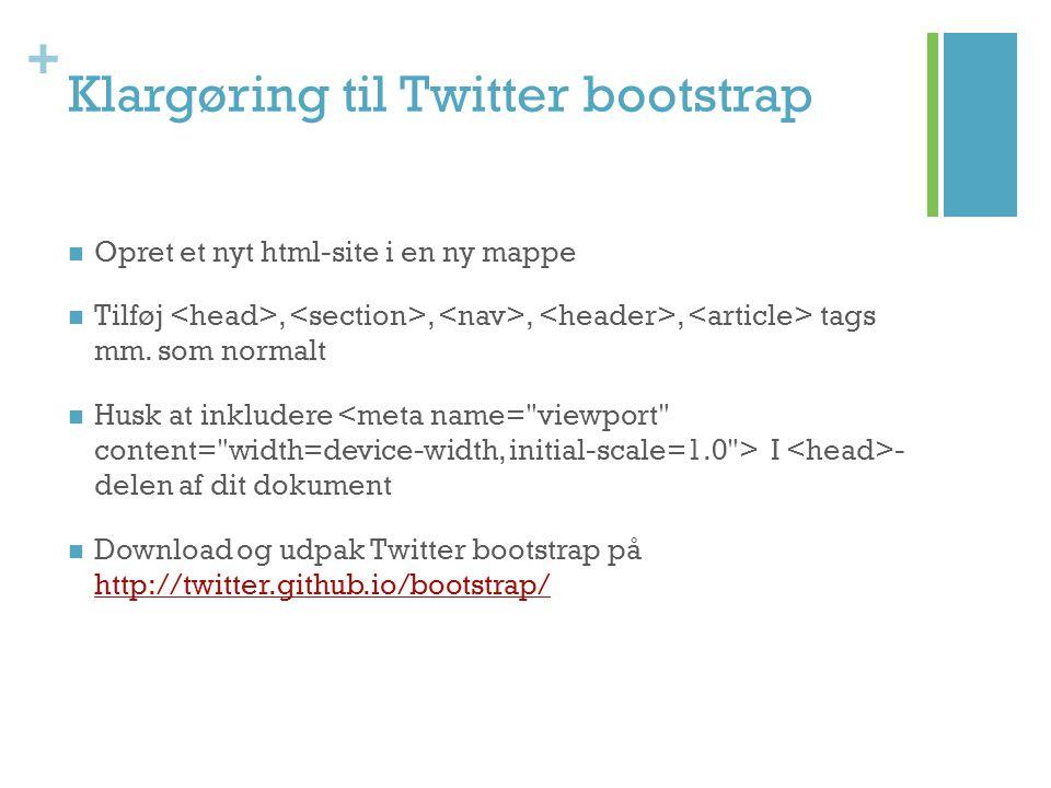 Klargøring til Twitter bootstrap