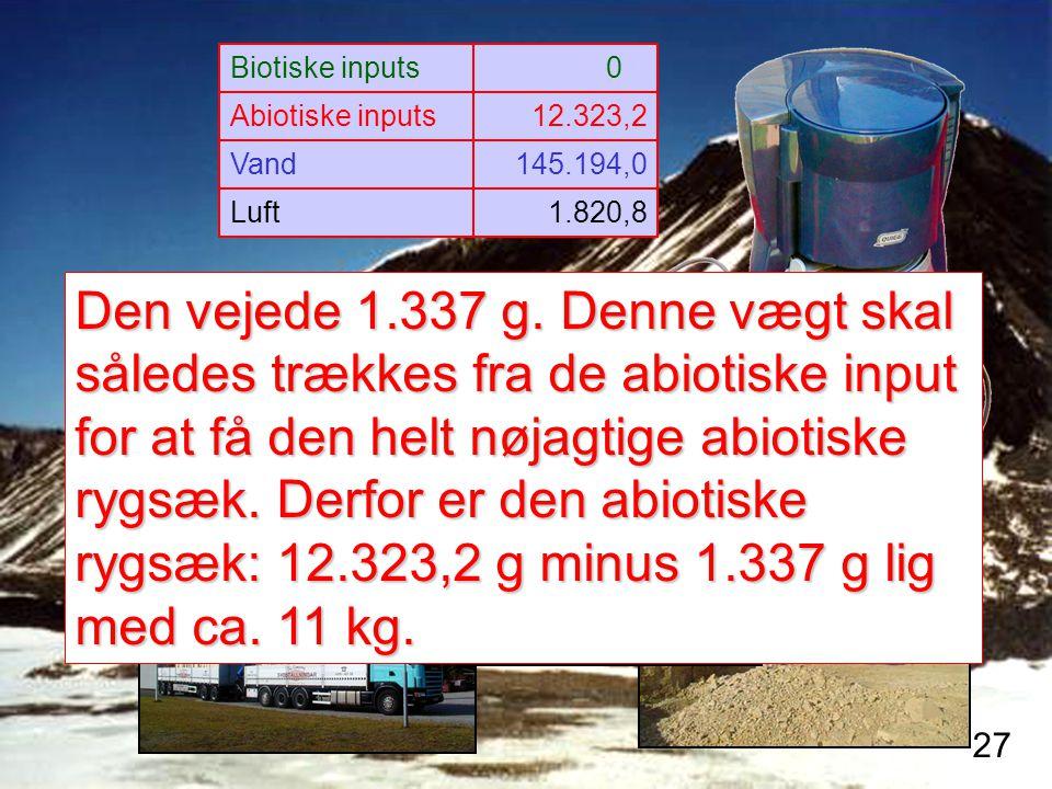 Biotiske inputs 0.0. Abiotiske inputs. 12.323,2. Vand. 145.194,0. Luft. 1.820,8.