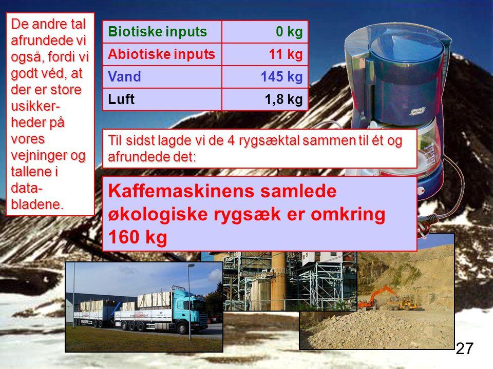Kaffemaskinens samlede økologiske rygsæk er omkring 160 kg