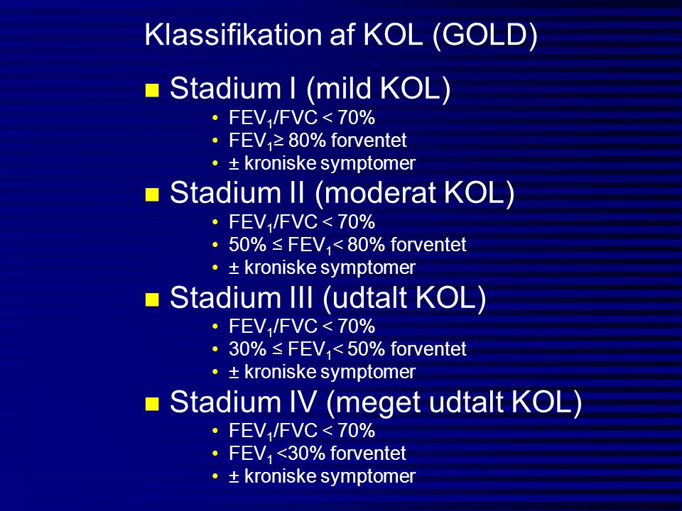 Klassifikation af KOL (GOLD)