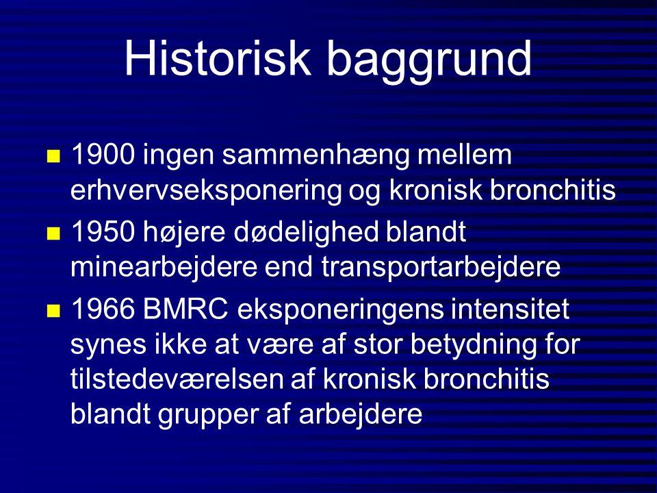 Historisk baggrund 1900 ingen sammenhæng mellem erhvervseksponering og kronisk bronchitis.