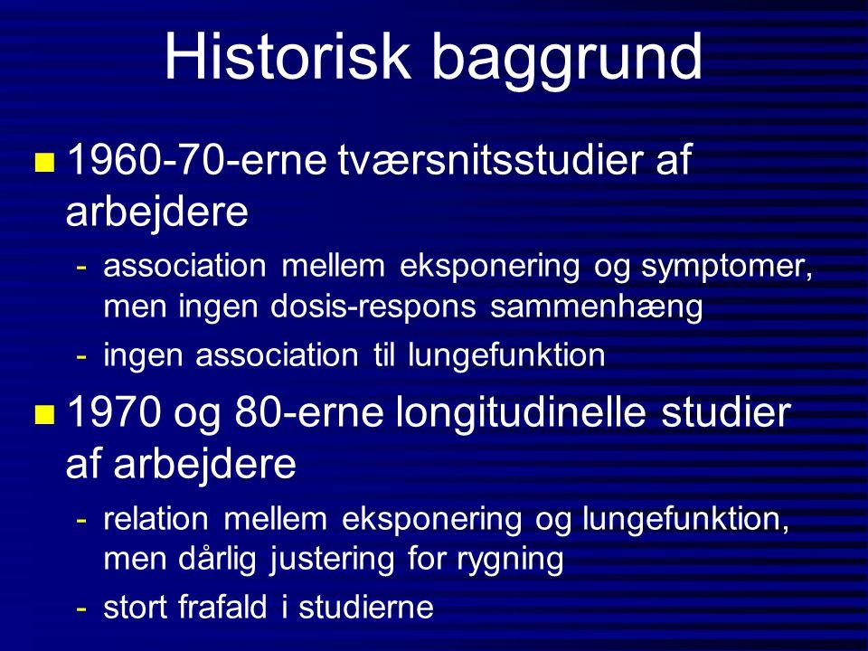 Historisk baggrund 1960-70-erne tværsnitsstudier af arbejdere