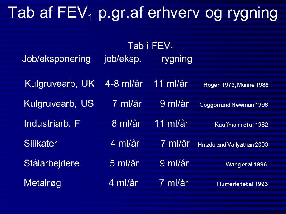 Tab af FEV1 p.gr.af erhverv og rygning