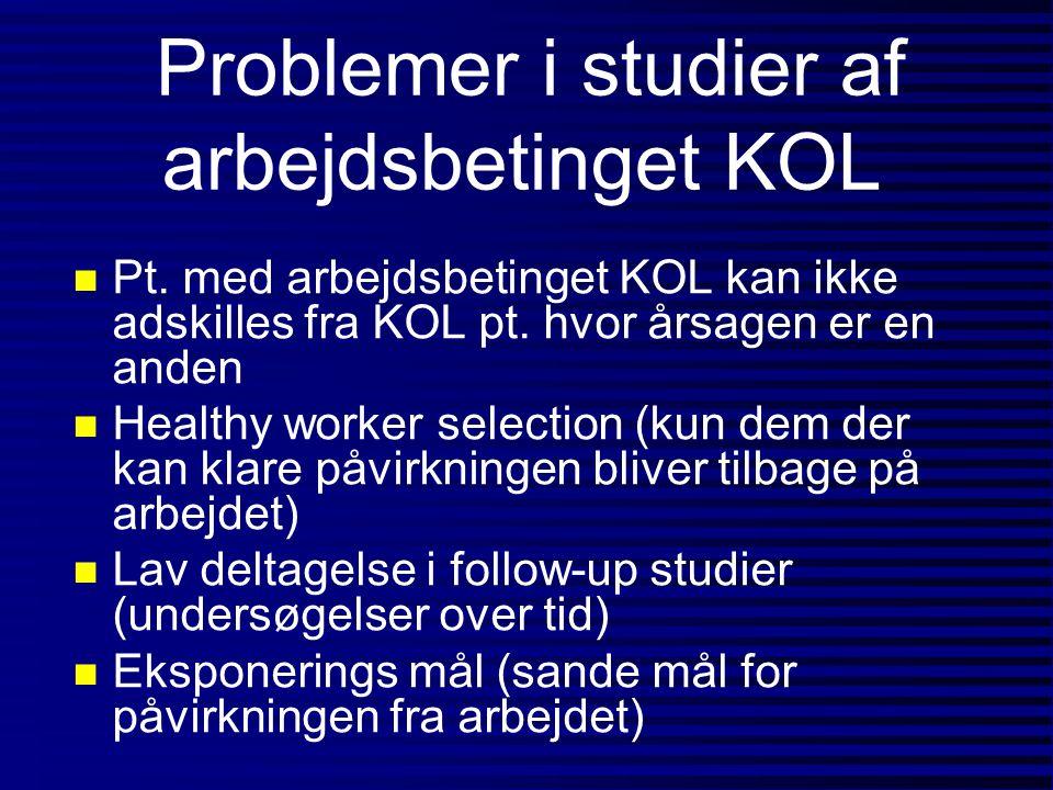 Problemer i studier af arbejdsbetinget KOL