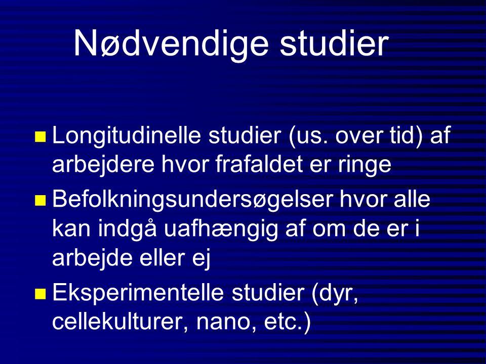 Nødvendige studier Longitudinelle studier (us. over tid) af arbejdere hvor frafaldet er ringe.