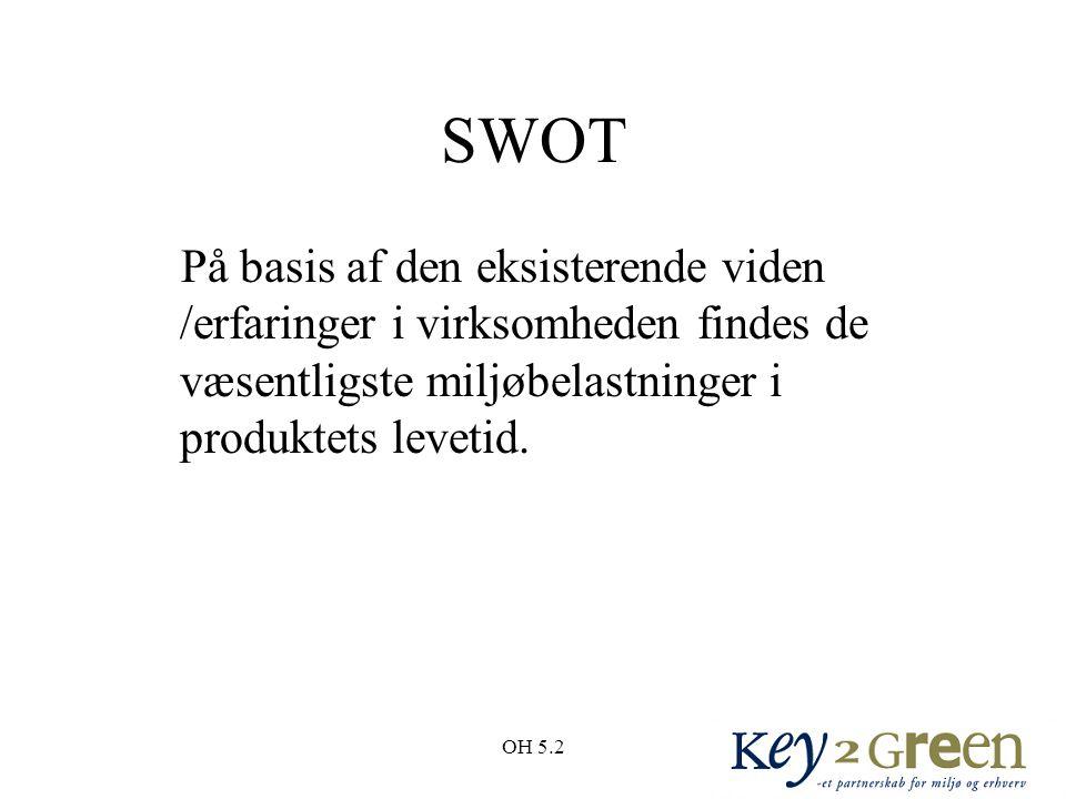 SWOT På basis af den eksisterende viden /erfaringer i virksomheden findes de væsentligste miljøbelastninger i produktets levetid.