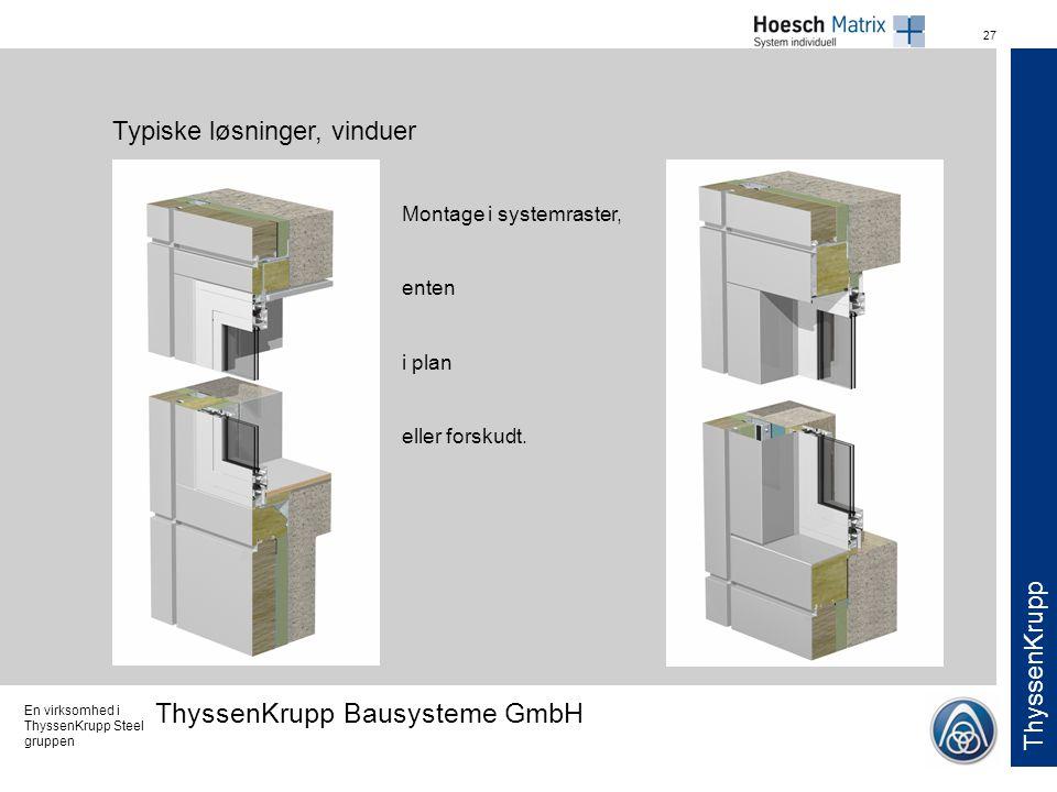 Typiske løsninger, vinduer
