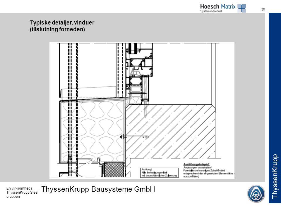 Typiske detaljer, vinduer (tilslutning forneden)