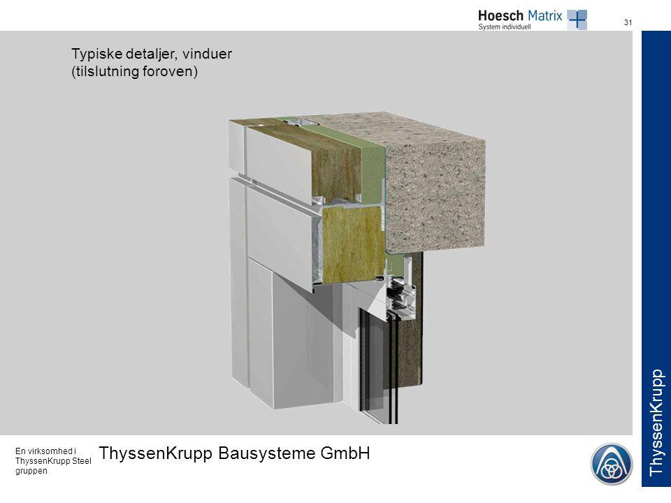 Typiske detaljer, vinduer (tilslutning foroven)