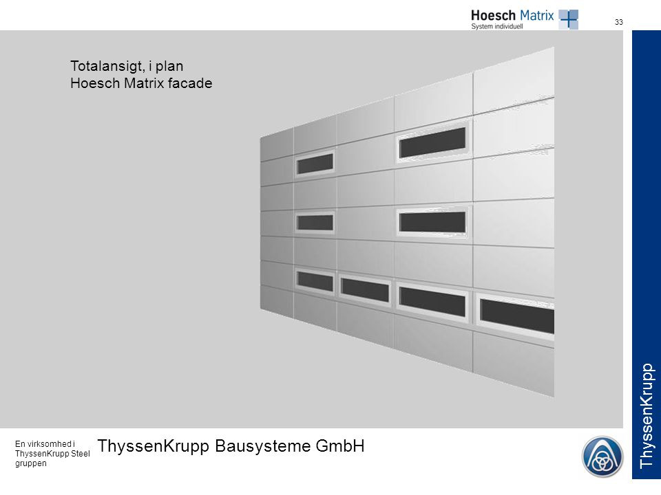 Totalansigt, i plan Hoesch Matrix facade