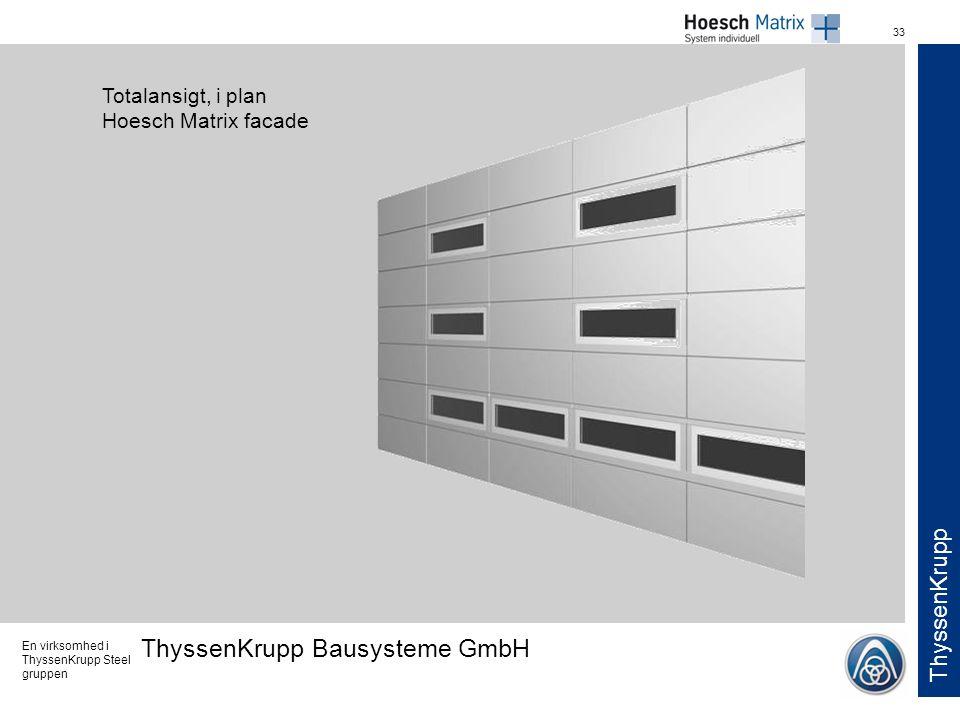 Totalansigt, i plan Hoesch Matrix facade
