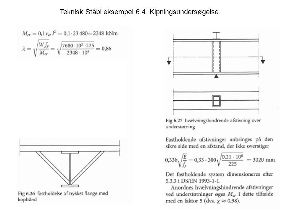 Teknisk Ståbi eksempel 6.4. Kipningsundersøgelse.