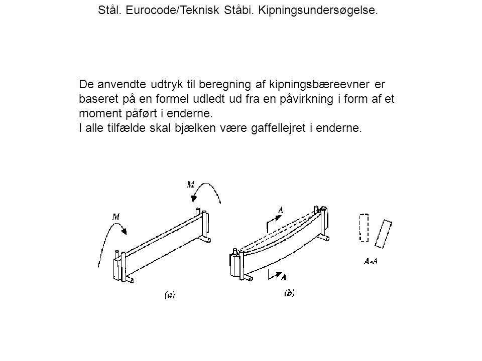 Stål. Eurocode/Teknisk Ståbi. Kipningsundersøgelse.