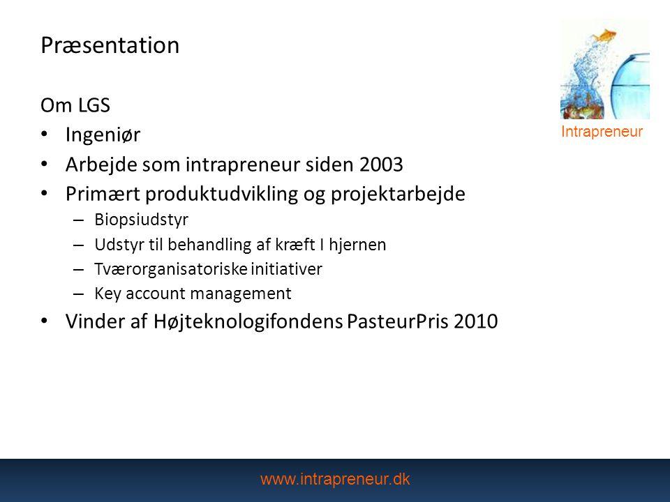 Præsentation Om LGS Ingeniør Arbejde som intrapreneur siden 2003