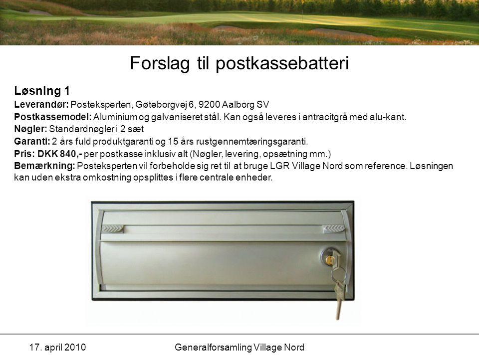 Forslag til postkassebatteri