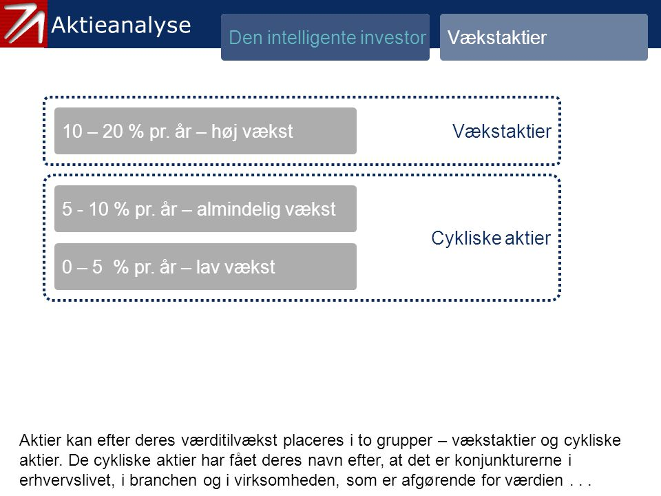 1.2 Vækstaktier - 3 Aktieanalyse Den intelligente investor Vækstaktier