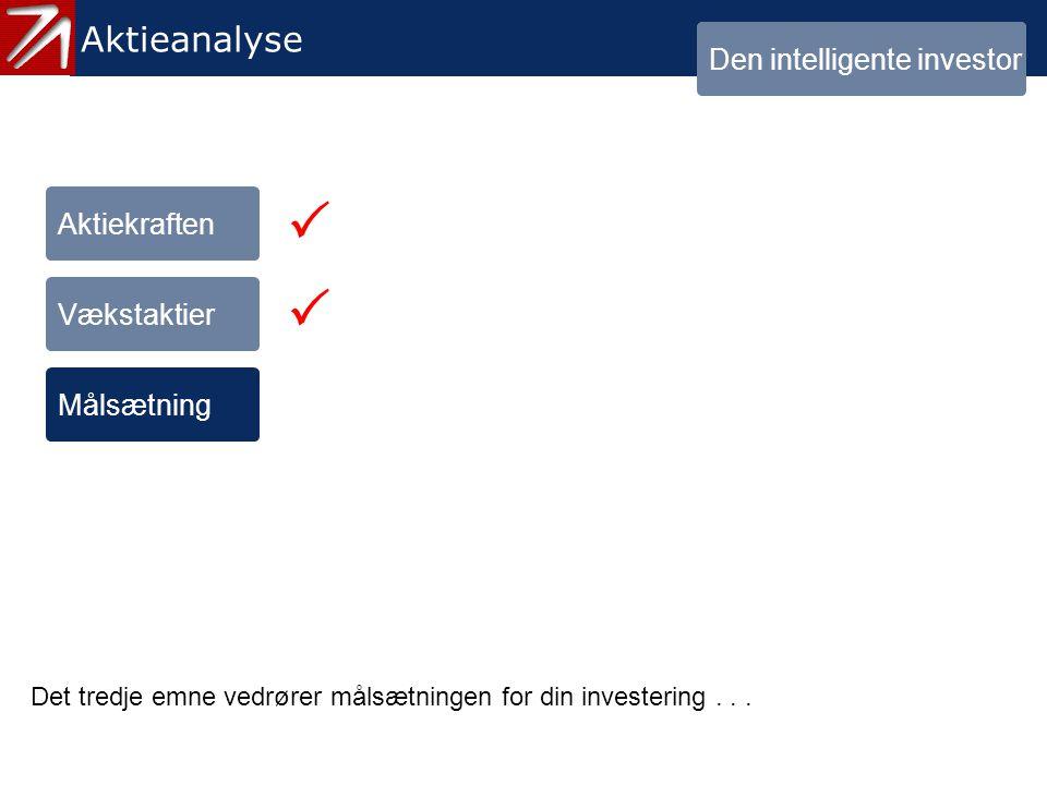   1.3 Målsætning - 1 Aktieanalyse Den intelligente investor