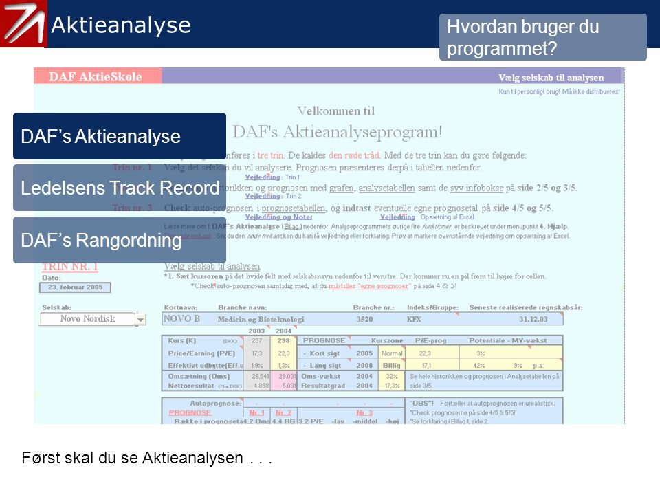 3.1 DAF´s Aktieanalyse Aktieanalyse Hvordan bruger du programmet