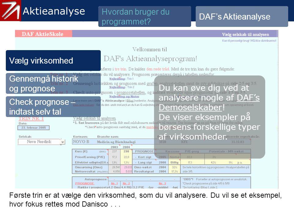 3.1.1 Vælg virksomhed - 1 Aktieanalyse Hvordan bruger du