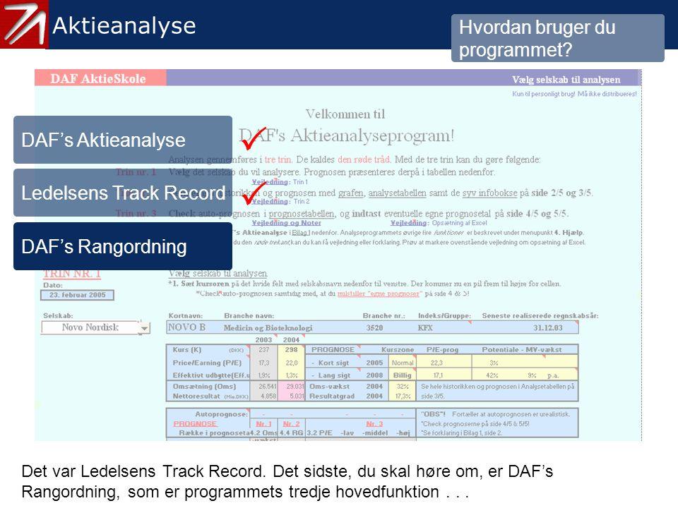   3.3 DAF's Rangordning - 1 Aktieanalyse Hvordan bruger du