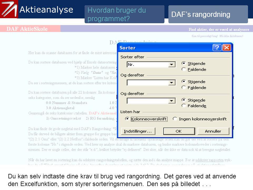 3.3 DAF's Rangordning - 4 Aktieanalyse Hvordan bruger du