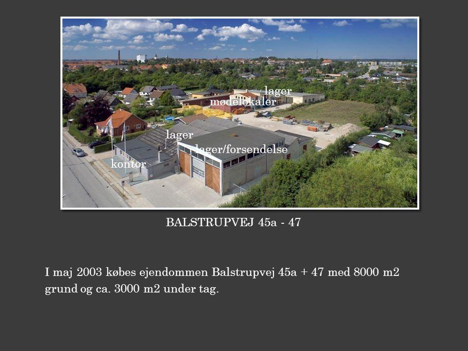 lager mødelokaler. lager. lager/forsendelse. kontor. BALSTRUPVEJ 45a - 47. I maj 2003 købes ejendommen Balstrupvej 45a + 47 med 8000 m2.
