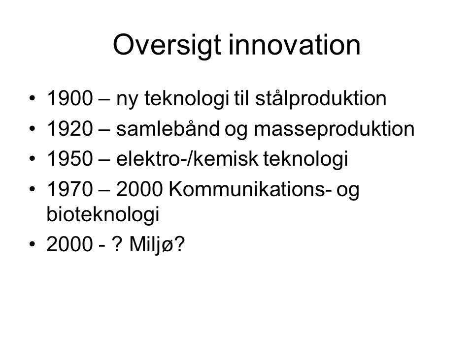 Oversigt innovation 1900 – ny teknologi til stålproduktion