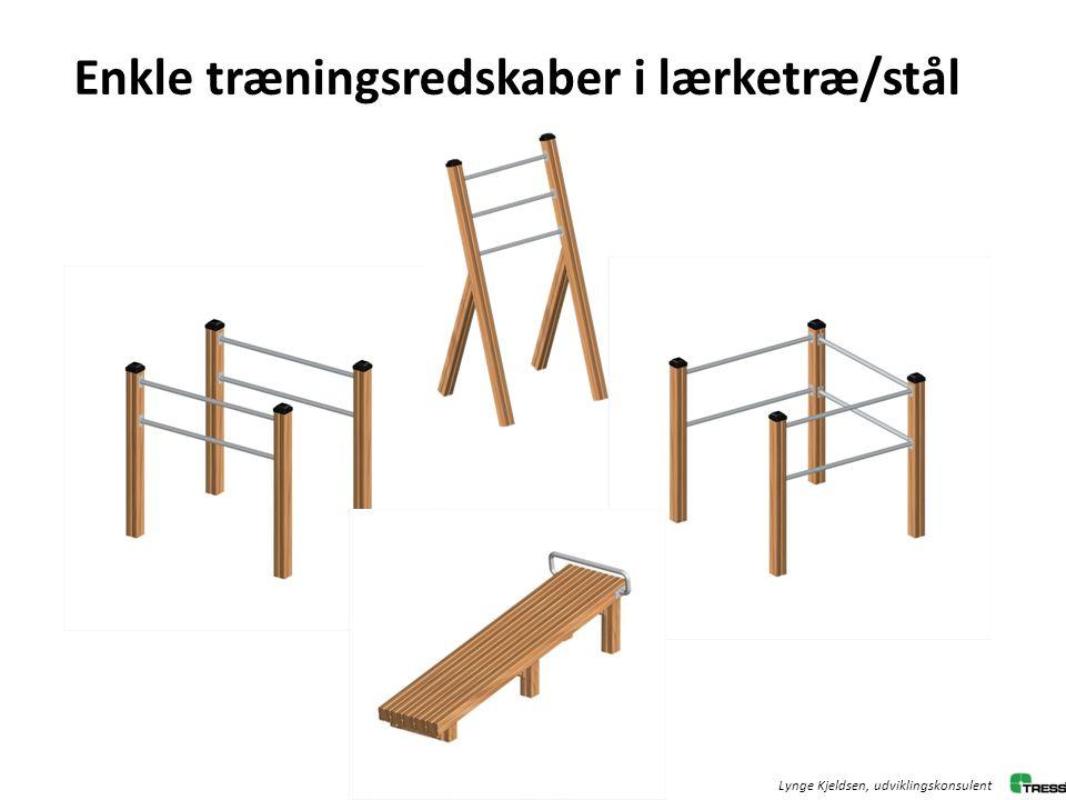 Enkle træningsredskaber i lærketræ/stål