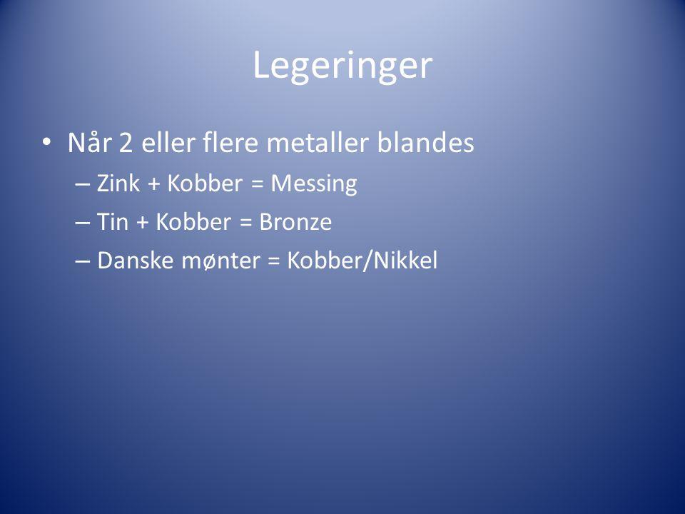 Legeringer Når 2 eller flere metaller blandes Zink + Kobber = Messing