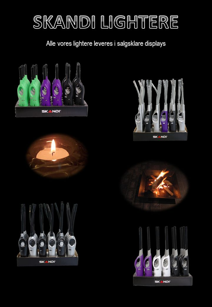 Alle vores lightere leveres i salgsklare displays