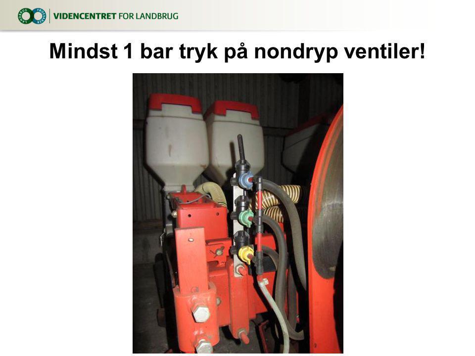 Mindst 1 bar tryk på nondryp ventiler!