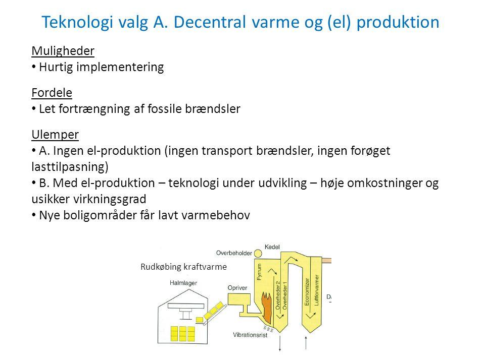 Teknologi valg A. Decentral varme og (el) produktion