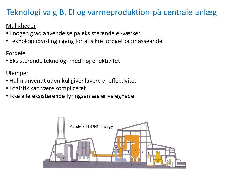 Teknologi valg B. El og varmeproduktion på centrale anlæg