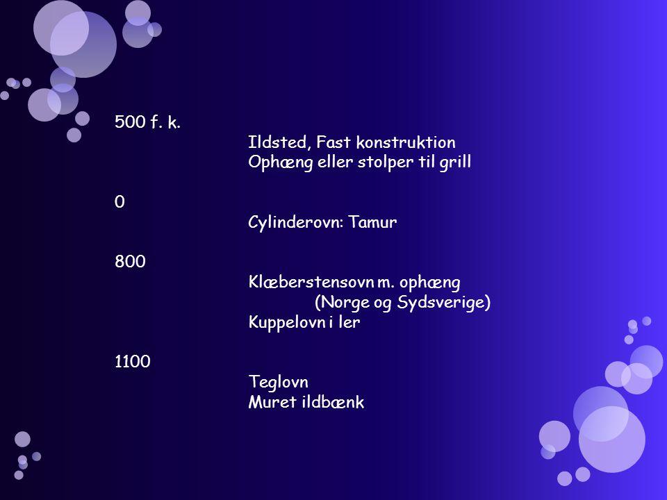 500 f. k. Ildsted, Fast konstruktion. Ophæng eller stolper til grill. Cylinderovn: Tamur. 800. Klæberstensovn m. ophæng.