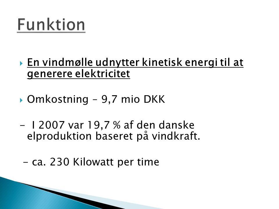 Funktion En vindmølle udnytter kinetisk energi til at generere elektricitet. Omkostning – 9,7 mio DKK.