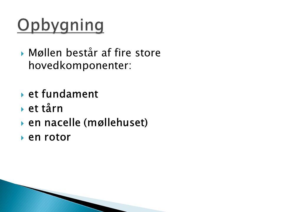 Opbygning Møllen består af fire store hovedkomponenter: et fundament