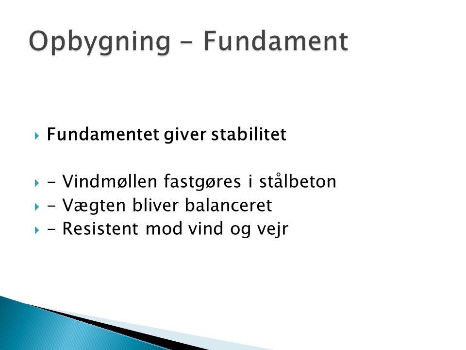 Opbygning - Fundament Fundamentet giver stabilitet
