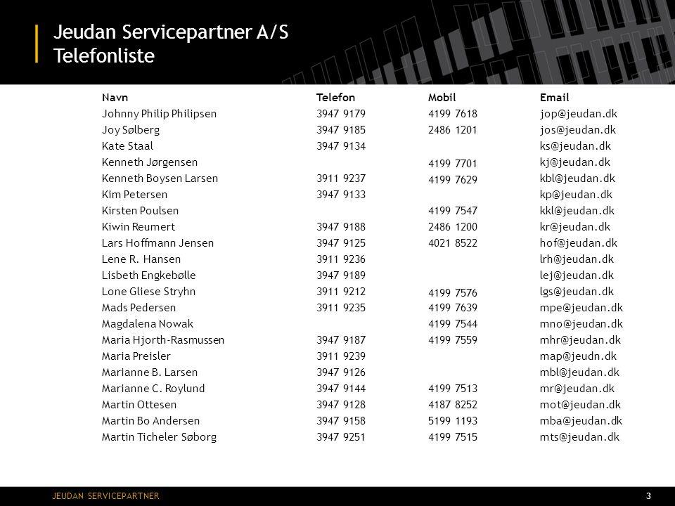 Jeudan Servicepartner A/S Telefonliste
