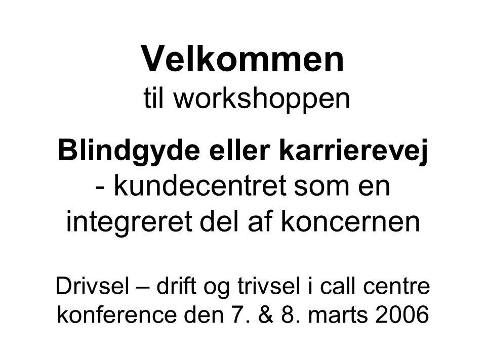 Velkommen til workshoppen Blindgyde eller karrierevej - kundecentret som en integreret del af koncernen Drivsel – drift og trivsel i call centre konference den 7.