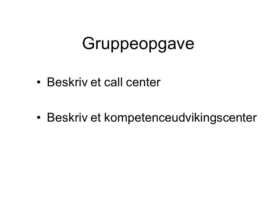 Gruppeopgave Beskriv et call center