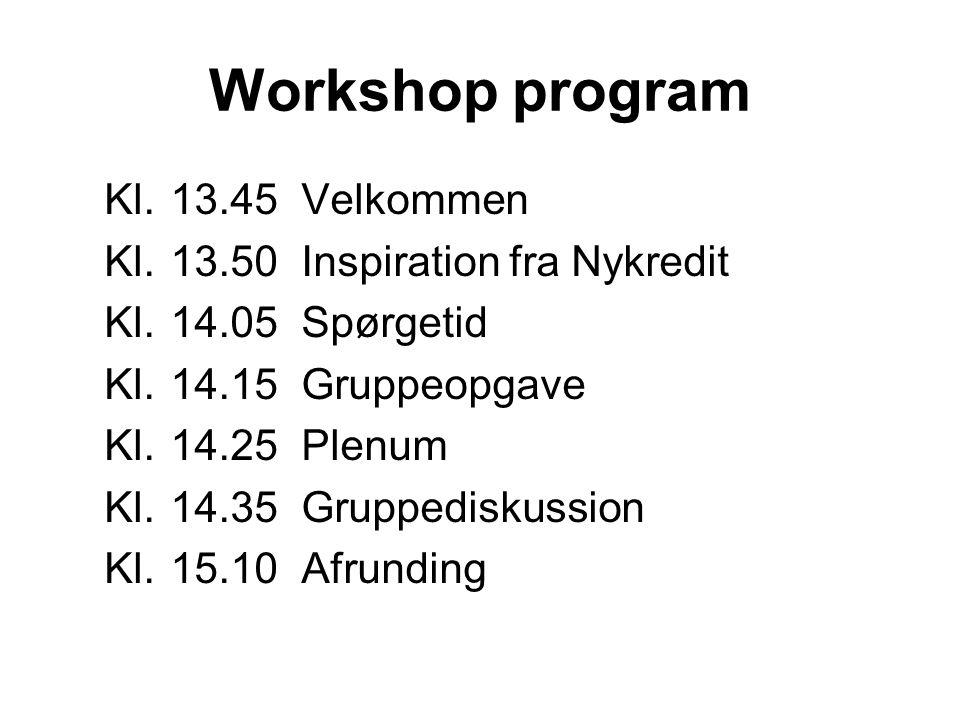 Workshop program Kl. 13.45 Velkommen