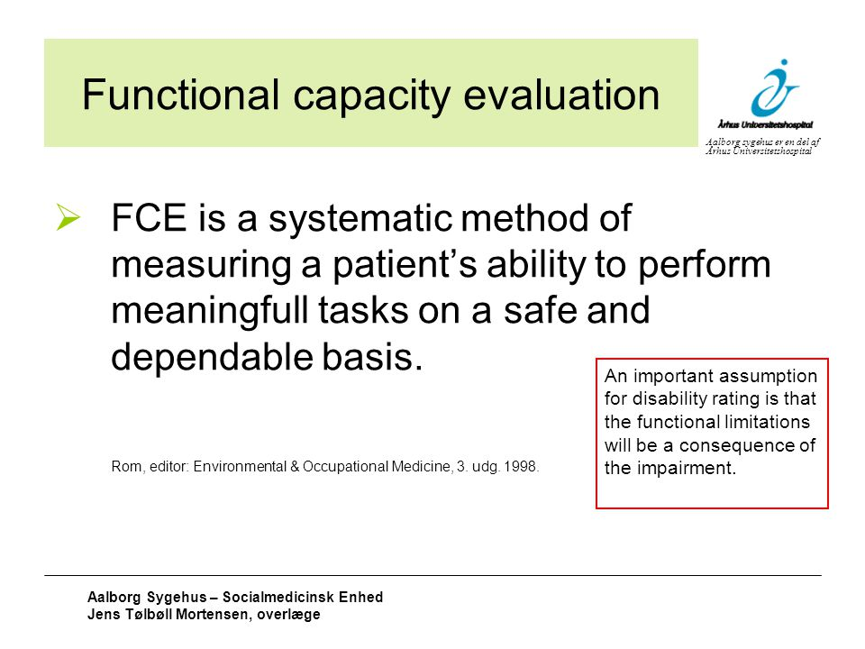 Functional capacity evaluation