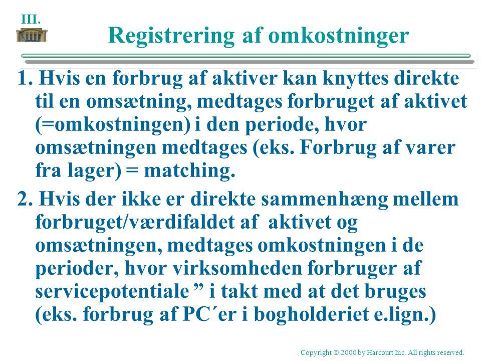 Registrering af omkostninger